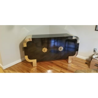 1980's Steve Chase Asian Credenza Brass and Gloss Black Laminate Over Hardwood. Preview