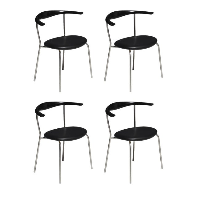 Set of 4 Hans Wegner PP701 Bull Horn Dining Chairs in Black Lacquer, Leather and Steel For Sale - Image 13 of 13