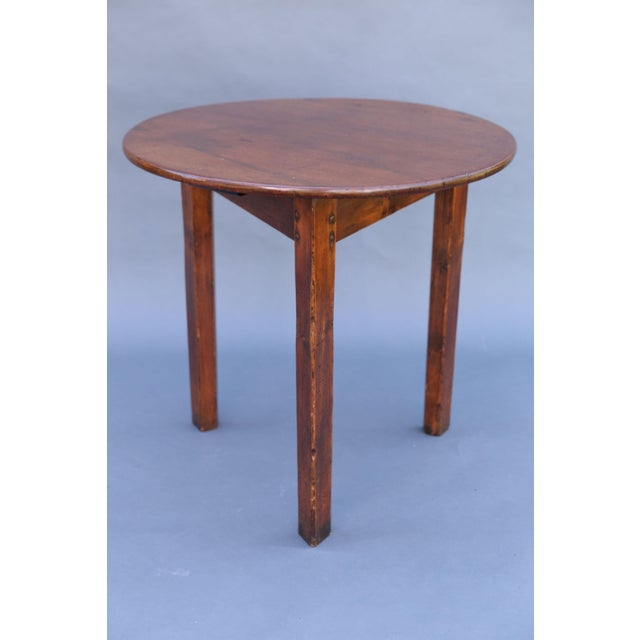 Country Antique English Chestnut Cricket Table, One Board Top For Sale - Image 3 of 9