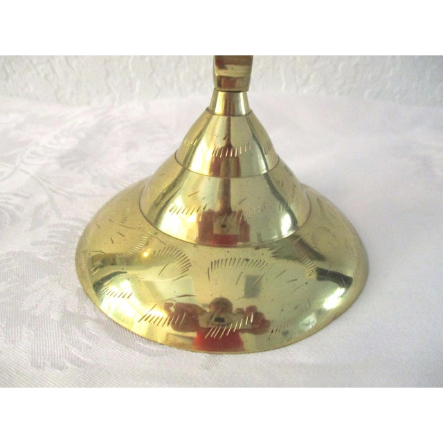 Asian Vintage Lacquered Brass Engraved Table Gong For Sale - Image 3 of 6