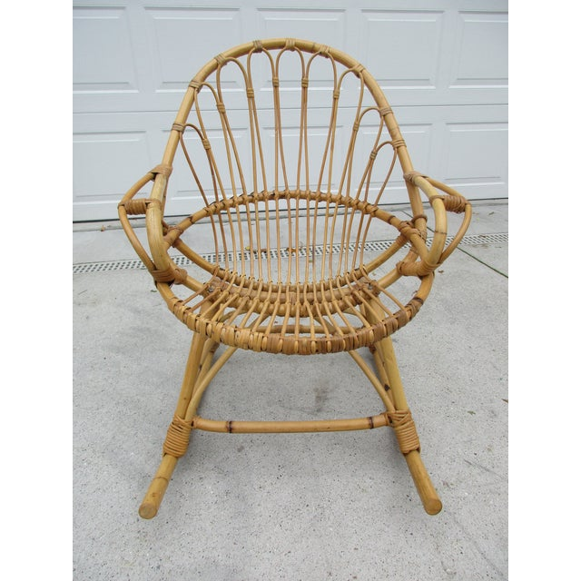 Bamboo and Wicker Rocking Chair - Image 8 of 8