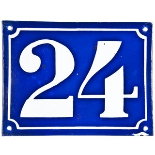 Large Vintage French Enamel House Number 24 For Sale