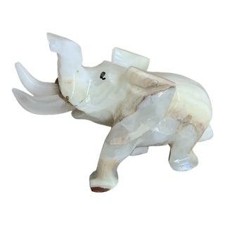 Mid 20th Century Onyx Elephant Figurine For Sale