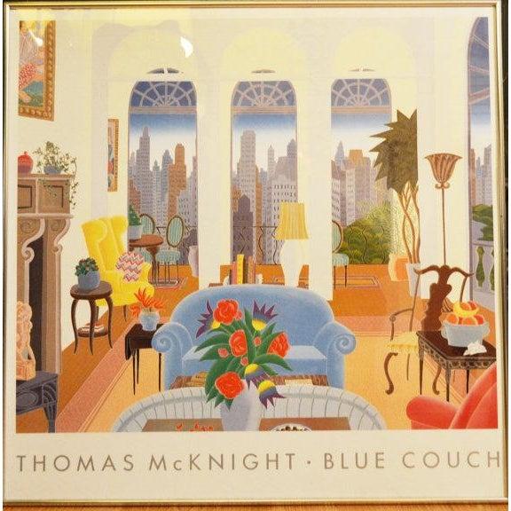 Admirable Vintage Thomas Mcknight Blue Couch Framed Art Creativecarmelina Interior Chair Design Creativecarmelinacom