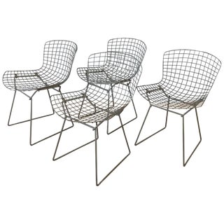Set of Four Bertoia for Knoll Grey 420c Side Chairs, Early 1980s For Sale