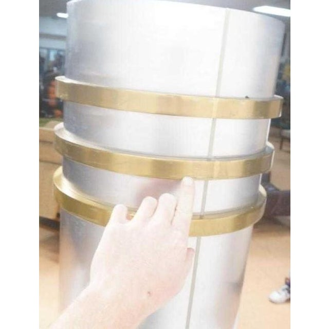 Modernist Art Deco Stainless Steel and Bronze Decorator Columns - a Pair For Sale - Image 9 of 11