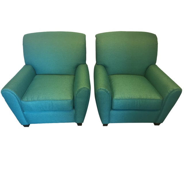 Turquoise Club Chairs - A Pair - Image 1 of 9