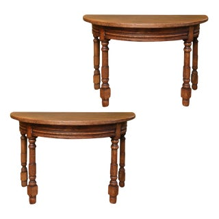 Pair of Belgian Oak Demilune Consoles For Sale