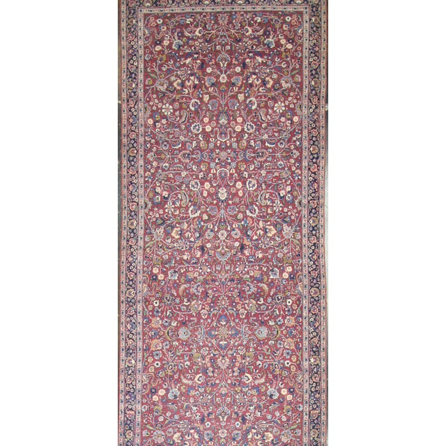 Late 19th Century Antique Persian Mashad Extra Long Hallway Runner For Sale - Image 5 of 8