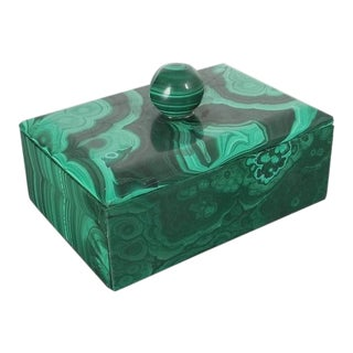 Midcentury Malachite Stone Box, Belgium For Sale