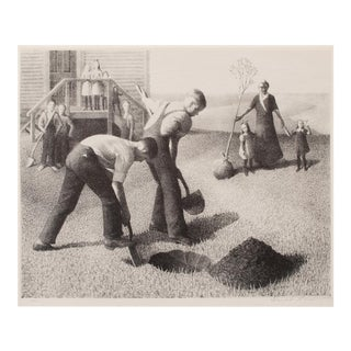 """1939 Grant Wood """"Tree Planting Group"""", Original Period Lithograph For Sale"""