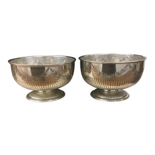 Silver Plate English Punch Bowls - Set of 2