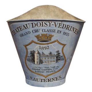 """Painted French Blue Grape Hotte, """"Chateau Doisy-Vedrines Sauternes"""" For Sale"""