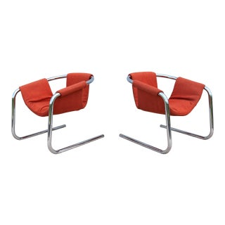 1970s Vintage Italian Mid-Century Modern Chrome Sling Lounge Chairs - a Pair For Sale