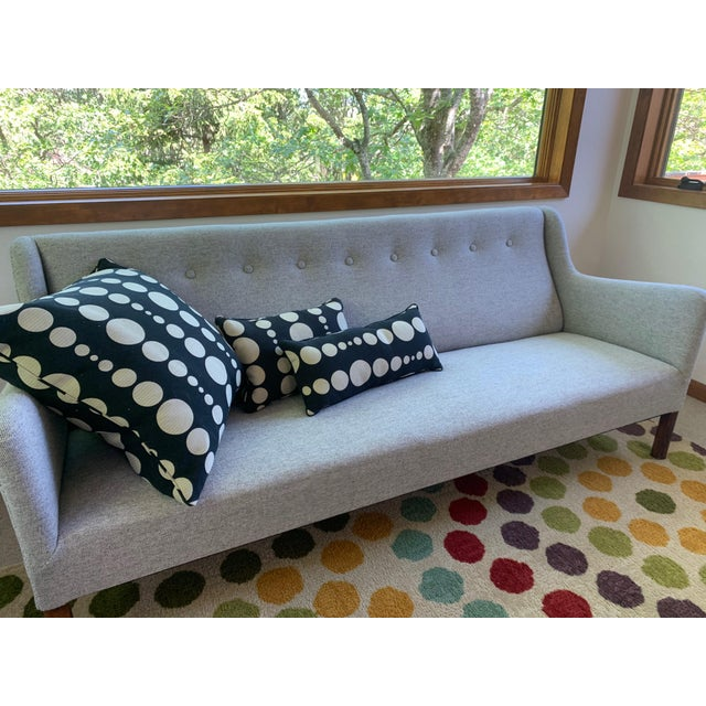 Mid-Century Modern 1960s Grey Upholstered Sofa For Sale - Image 3 of 9