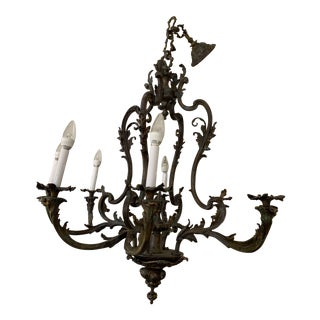 Vintage Traditional Italian Style Bronze Chandelier For Sale