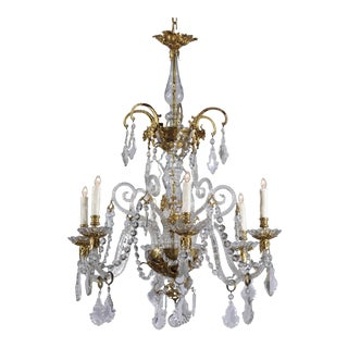 French Rococo Style Six-Light Crystal Chandelier with Gilt Bronze Accents For Sale
