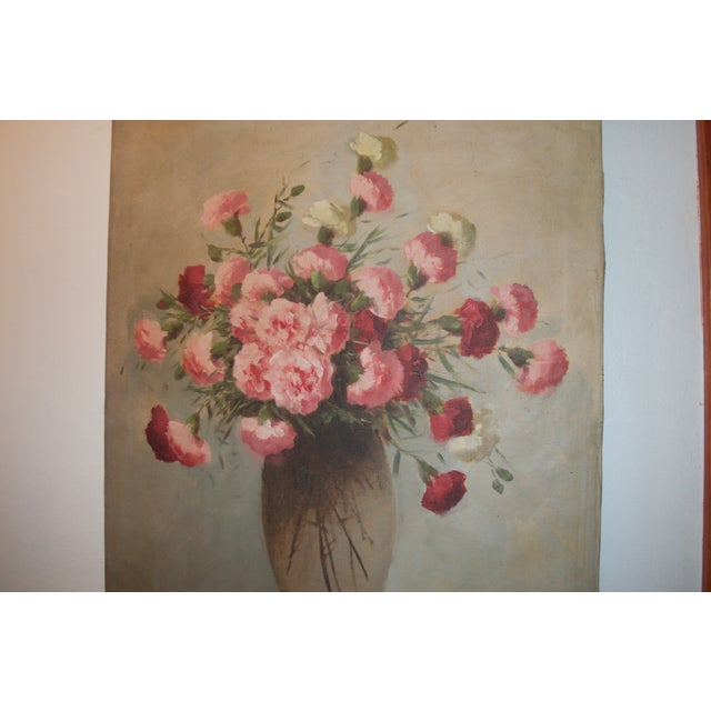 Vintage Large Carnations Floral Oil Painting - Image 6 of 8