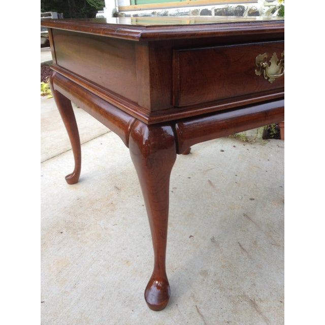 British Colonial Amish Made Solid Cherry Side Table For Sale - Image 3 of 13