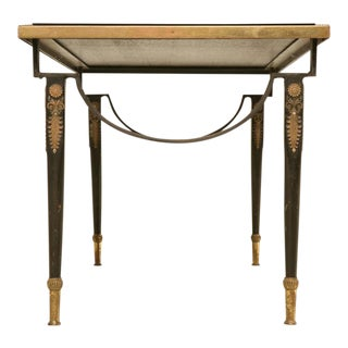 1940s French Cocktail Table With Black Glass Top For Sale
