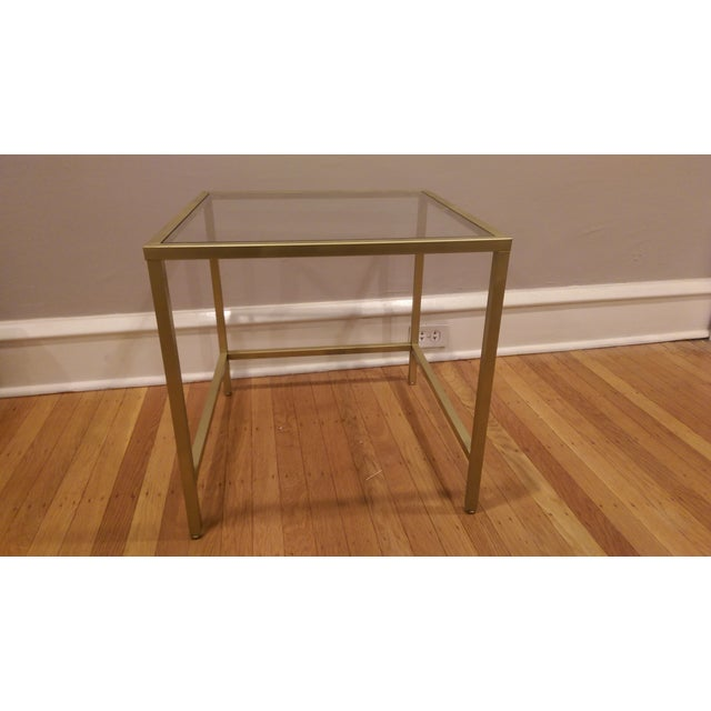 Gold Framed Side Table with Glass Top - Image 5 of 6