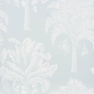 Schumacher Grand Palms Wallpaper in Mineral For Sale