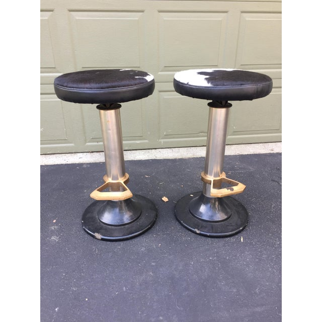 Cowhide Deco Style Bar Stools - a Pair - Image 10 of 11