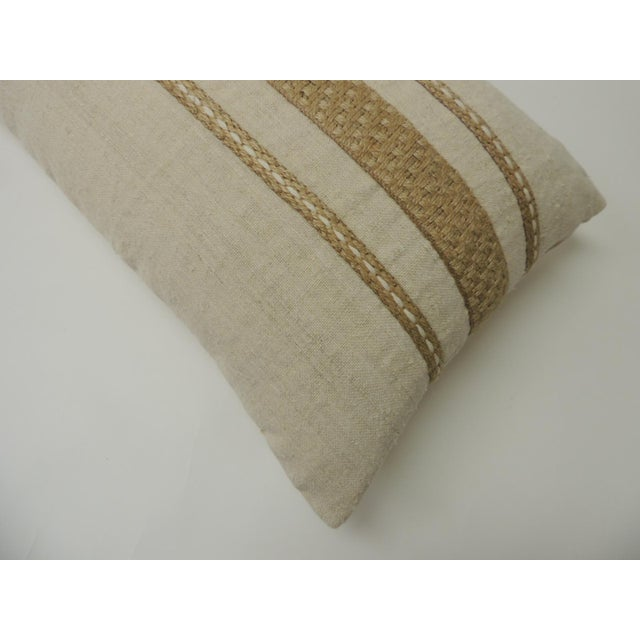 Boho Chic Vintage Linen Bolster Decorative Pillow With Vintage Jute Trims For Sale - Image 3 of 5