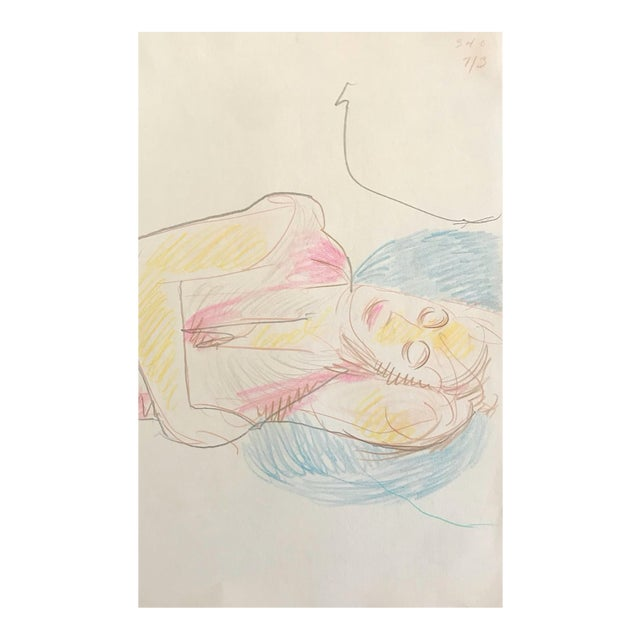 Resting Female Figurative Drawing by James Bone For Sale