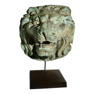 Early 20th Century Vintage Copper Repouss'e Lion Statue For Sale