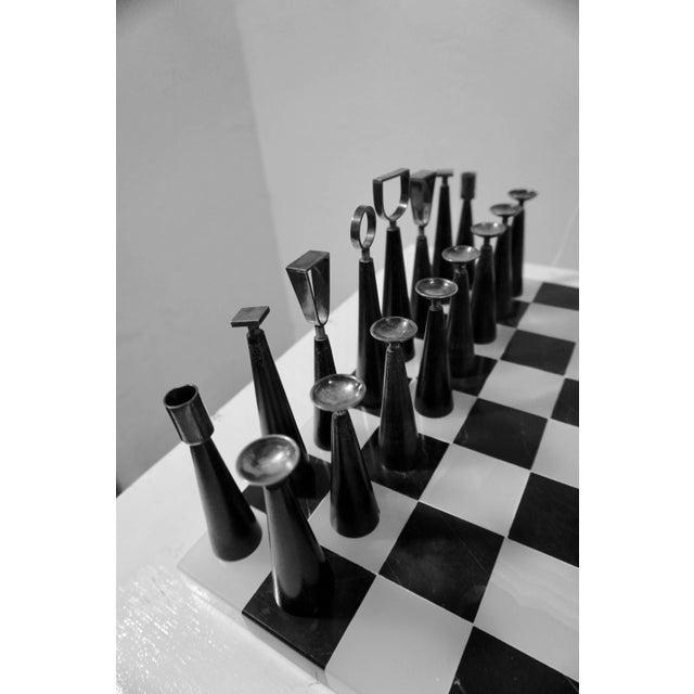 Modern Mid Century Minimalist Chess Set - Set of 33 For Sale - Image 3 of 6