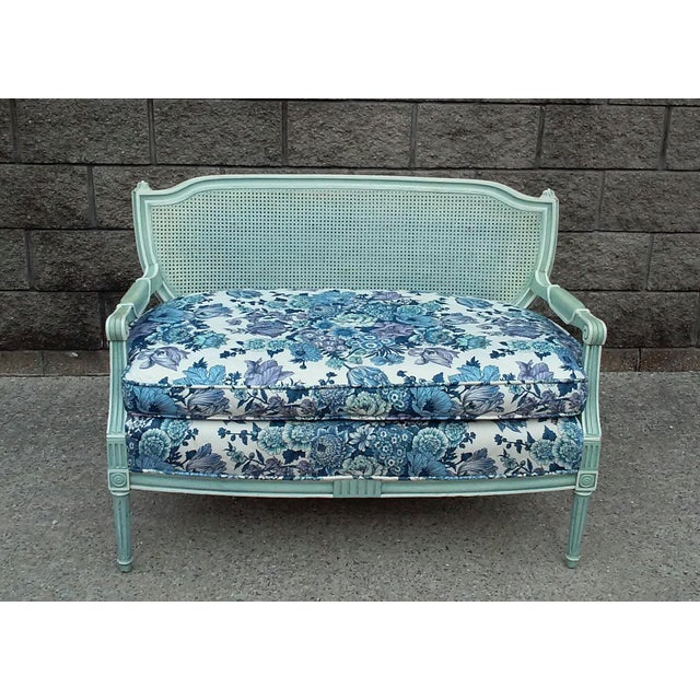 French Cane Back Settee For Sale - Image 9 of 9
