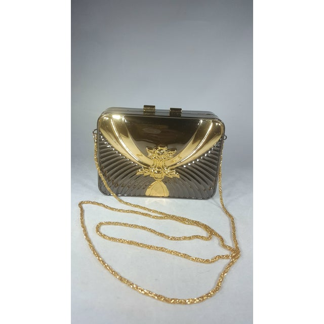 1970s Vintage Gold and Gunmetal Hard Case Clutch With Hidden Chain For Sale - Image 5 of 5