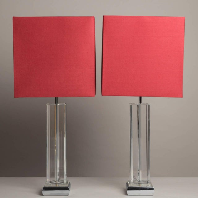 A Pair of Lucite Table Lamps 1970s - Image 2 of 4