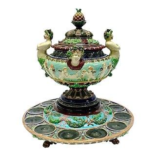 Antique Majolica Cherub-Caryatid Punchbowl For Sale