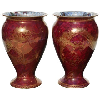 Pair of Wedgwood Lustre Red Dragon Vases, 1900 For Sale