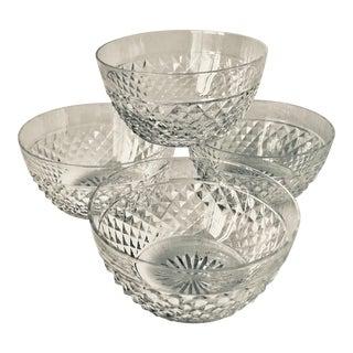 Set Vintage Cut Crystal Bowls-Starburst & Diamond Design-Set 4 For Sale