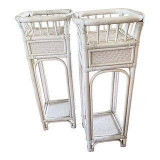 Set of Two Vintage White Rattan Wicker Plant Stands, a Pair For Sale