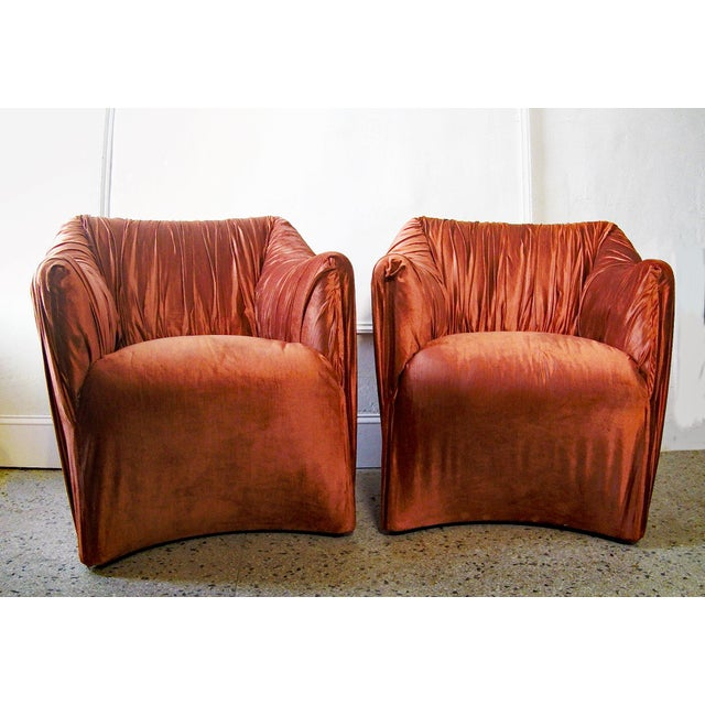 """Marvelous, lush set of Cassina """"Tentazione"""" chairs designed by Mario Bellini. Circa 1970s. The extravagantly pleated..."""