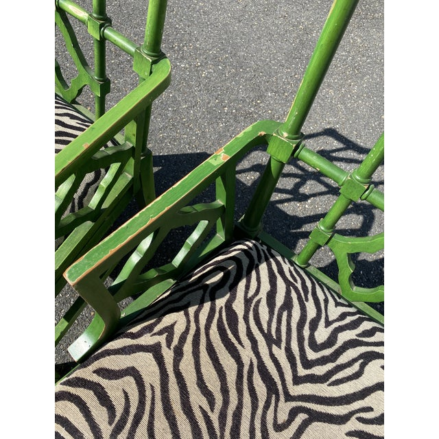 Vintage Hollywood Regency Green Pagoda Chairs with Zebra Fabric - a Pair For Sale - Image 10 of 13