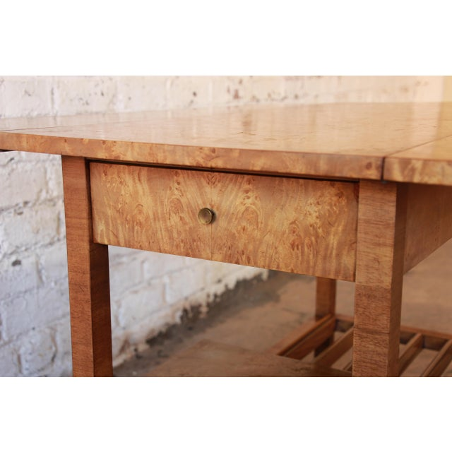 Bernhard Rohne for Mastercraft Burled Olive Wood Bar Cart - Image 10 of 11