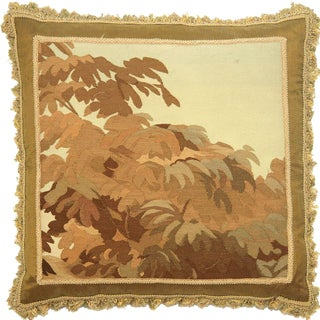 """19th Century French Aubusson Pillow - 24"""" X 24"""" For Sale"""