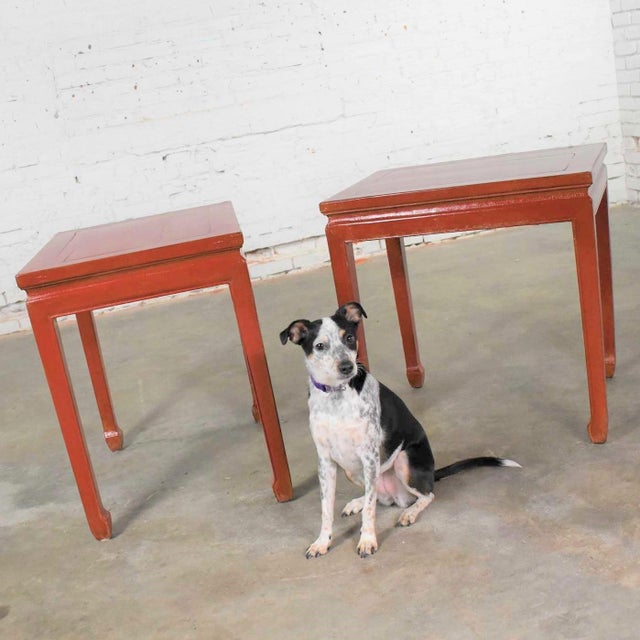 Mid 20th Century Asian Ming Style Chinese Crackle Red Lacquer Rectangular End Tables - a Pair For Sale - Image 11 of 13