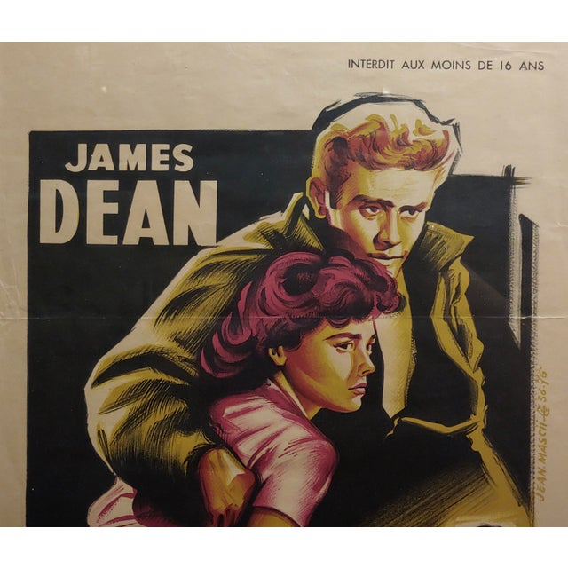 French James Dean -Rebel Without a Cause -1955 Vintage French Poster For Sale - Image 3 of 9