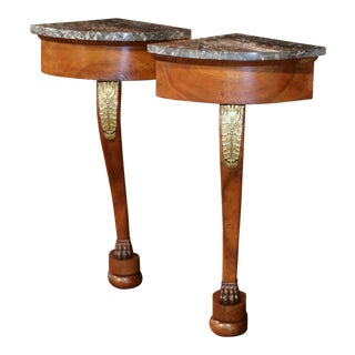 Pair of 19th Century French Empire Walnut Corner Consoles With Grey Marble Top For Sale