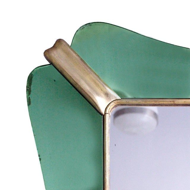 Mid-Century Modern 1950´s Large Mirror, Green Mirrors Frame and Golden Leaf Wood - Italy For Sale - Image 3 of 8