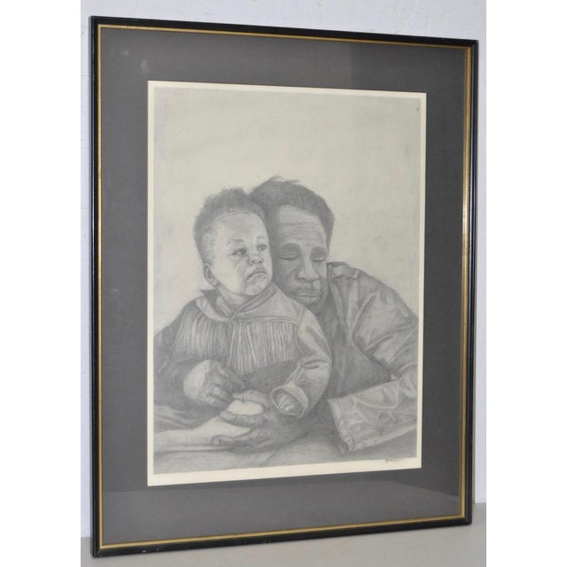 Circa 1960s Father and Son Pencil Portraits - Image 2 of 6