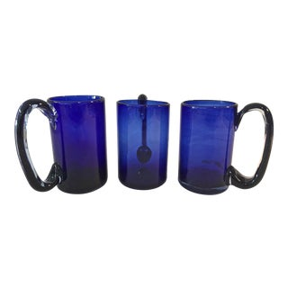 1970s Hand Blown Mexican Cobalt Mugs - Set of 3 For Sale