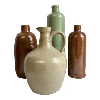 Vintage Neutral Stoneware Bottles - Set of 4 For Sale