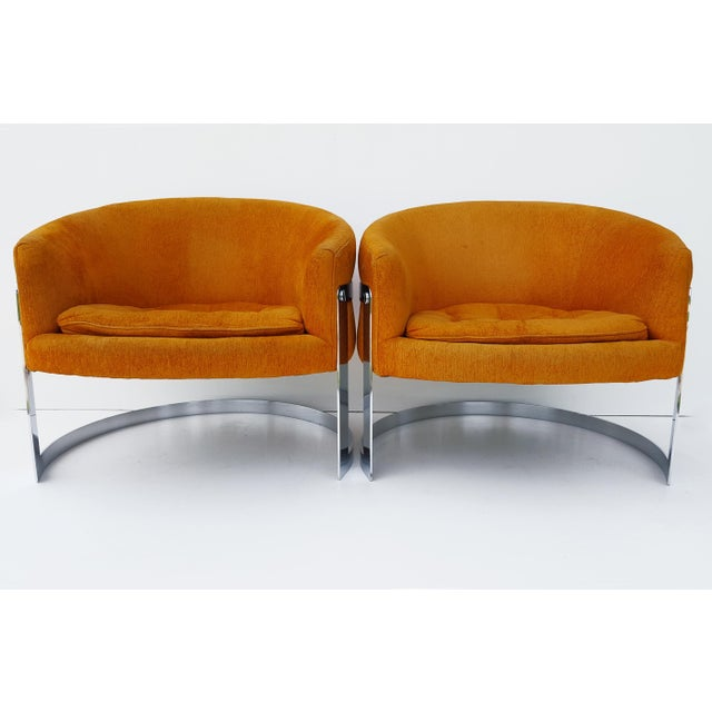Metal 1960s Vintage Milo Baughman Barrel Back Chairs - A Pair For Sale - Image 7 of 8